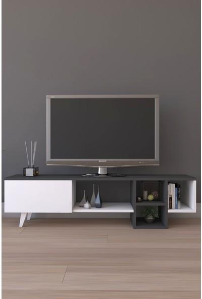 Platinreyon Dekoratif Raflı TV Ünitesi Televizyon Sehpası