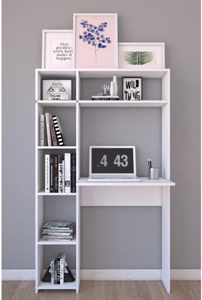 Platinreyon Tek Kitaplıklı Çalışma Masası 180 cm Yükseklik