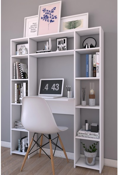 Platinreyon Çift Kitaplıklı Çalışma Masası Beyaz 180 cm Yükseklik