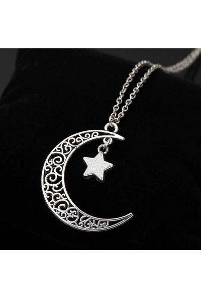 VipBT Ay Yıldız Ferforje Motifli Kolye