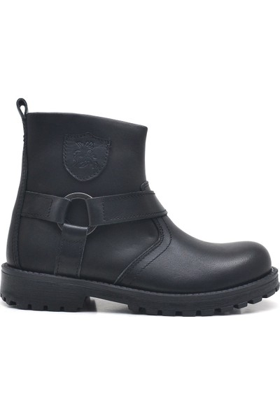 Raker Chiron Deri Siyah Fermuarlı Çocuk Çizme