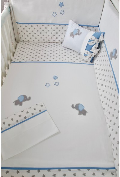 Pudra Decor Küçük Fil Mavi Yıldızlı Bebek Uyku Seti