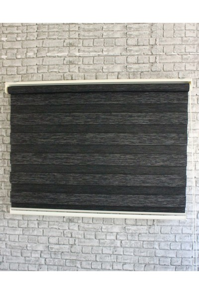 Sezerler Perde Bambu Zebra Perde 3 Boyutlu Siyah 60x200