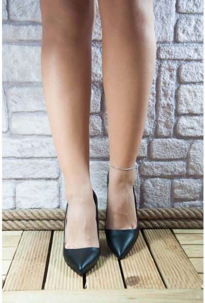 Noa Shoes Stiletto Siyah Kalın Topuk Deri Topuklu Kadın Ayakkabı Mat