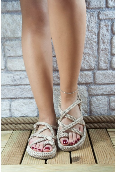 Noa Shoes Halat Sandalet Kum Tek Çapraz Parmak Arası İpli Terlik
