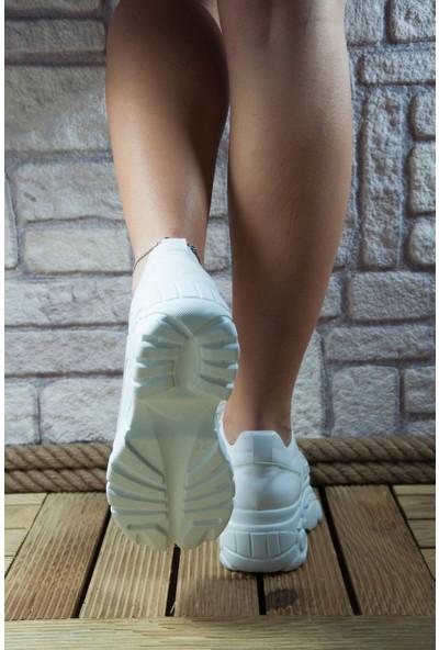 Noa Shoes Beyaz Spor Ayakkabı Mat Kadın Yüksek Dolgu Kalın Taban