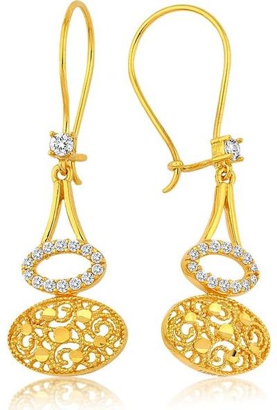 Label Jewelry Dantela 22 Ayar Altın Sarkaç Küpe