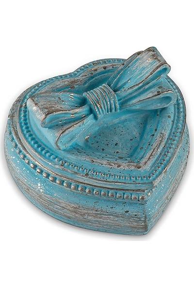 Porio Pr30 1034 Mavi Kurdeleli Kalpli Mücevher Kutusu 7*6