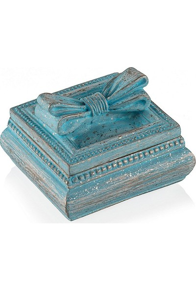 Porio Pr30 1037 Mavi Kurdeleli Mücevher Kutusu 6*6