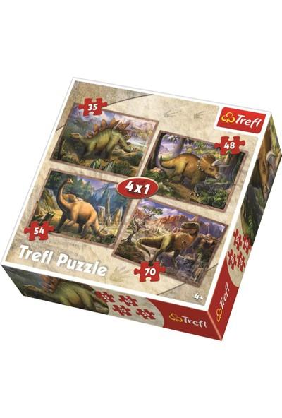 Trefl 4'lü İyi Dinazorlar Çocuk Puzzle (35+48+54+70 Parça)