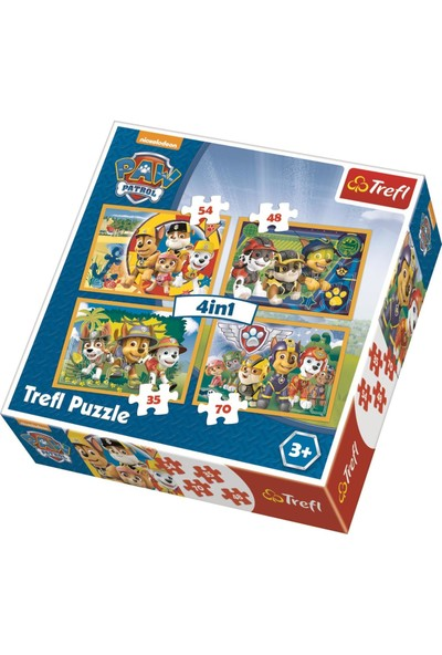 Trefl Puzzle Always On Time, Paw Patrol 35+48+54+70 Parça 4 İn 1 Puzzle
