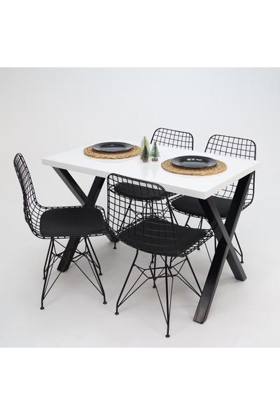 Mars Mobilya Woody Metal Ayaklı Mutfak Masa ve Sandalye Takımı