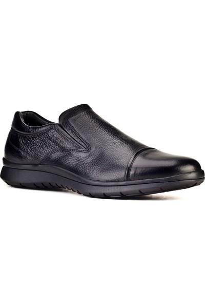 Cabani Bağcıksız Günlük Erkek Ayakkabı Siyah Naturel Floter Deri