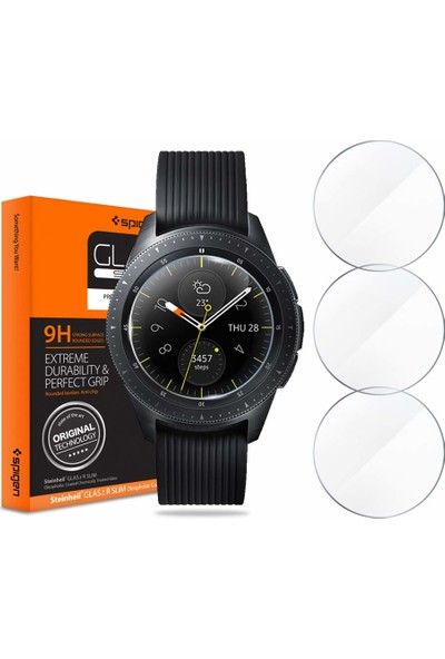 Spigen Samsung Galaxy Watch (42mm) Cam Ekran Koruyucu Glas.tR SLIM (3 Adet) - 600GL25075