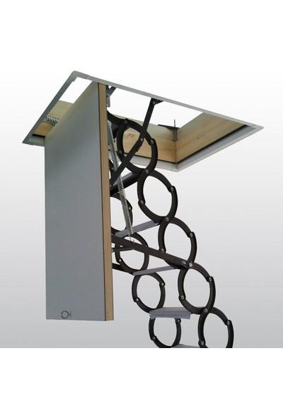 2Mm Ahşap Akordeon Metal Çatı Merdiveni 70X80 Cm