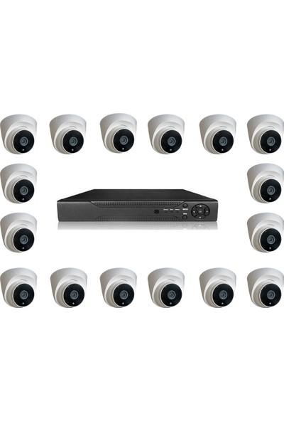 Picam Dome Güvenlik Kamera Seti İç Ortam 16 kameralı Set Gece Görüşlü 2MP AHD