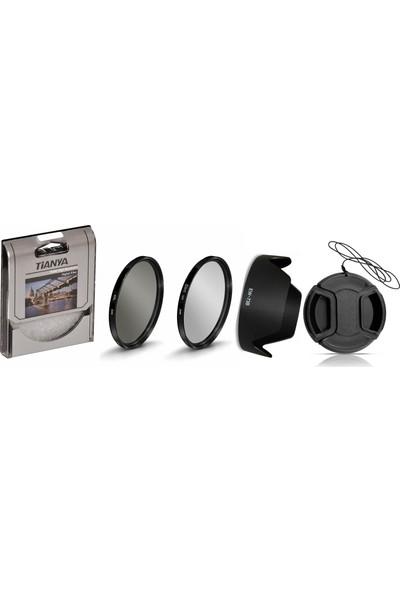 Tianya Canon 18-135mm Lens için 67mm Slim Uv + Cpl Polarize + Ew-73b Parasoley + Lens Kapağı
