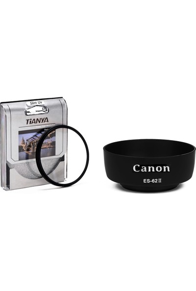 Tianya Canon 50mm F1.8 II Lens için Koruyucu Uv Filtre + Es-62 Bayonet Parasoley