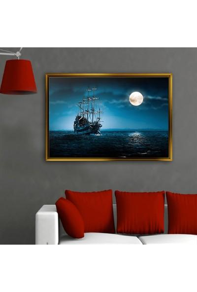 Dekorme Altın Çerçeveli Gemi Dolunay Kanvas Tablo