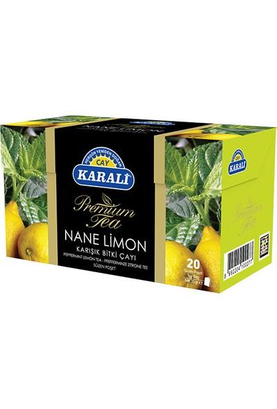 Karali Premium Bardak Poşet Nane Limon Çayı 20'li