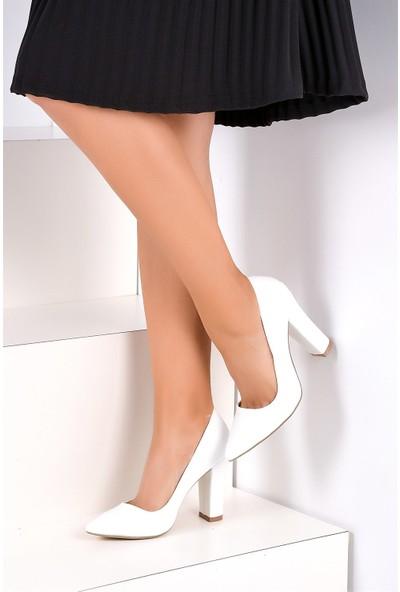 Pembe Potin Beyaz Kadın Topuklu Ayakkabı