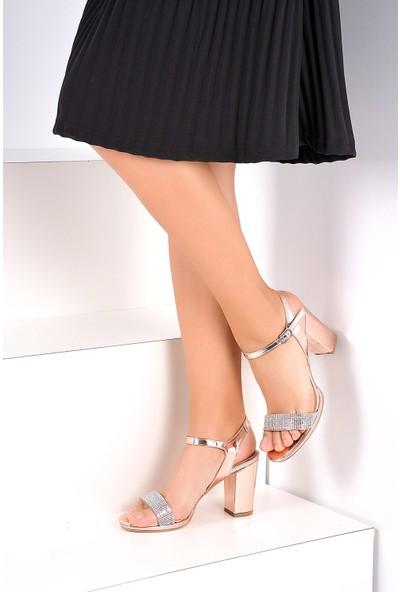 Pembe Potin Roz Kadın Topuklu Ayakkabı