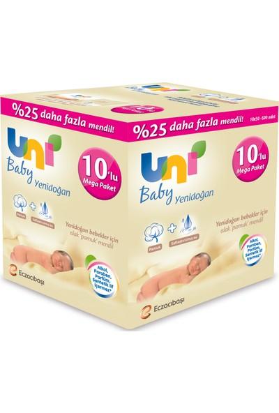 Uni Baby Yenidoğan 10 x 50'li Islak Pamuk Mendil 500 yaprak 25% Daha Fazla Mendil