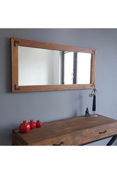 NEOstill -Doğal Ahşap Dekoratif Salon Duvar Ayna 110X50 Ceviz