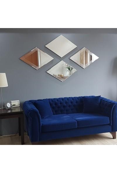 NEOstill -4'lü Dekoratif Duvar Salon Ofis Baklava Desenli Ayna