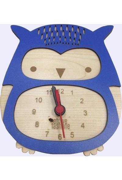 Atölye Taşhane Çocuk Odası Dekoratif Duvar Saati Baykuş