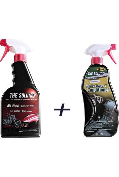 The Solution Torpido Parlak Temizleyici 500 ml + The Solution Susuz Araç Yıkama Temizleme Hızlı Cila 800 ml
