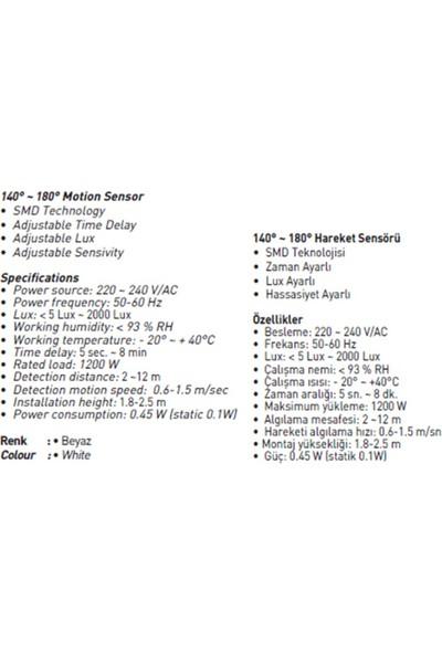 Jupiter 140°180° Hareket Sensörü Js475