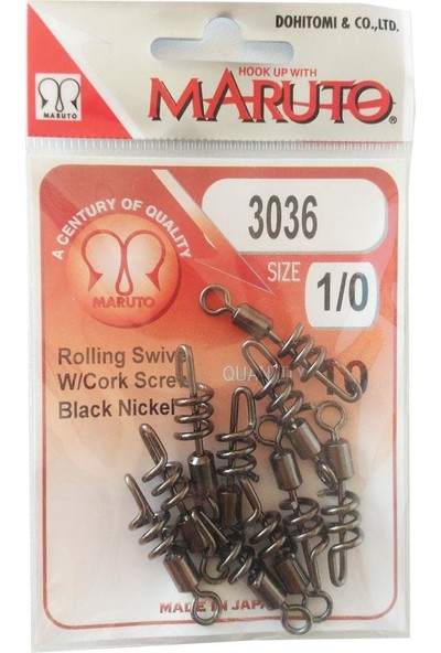 Maruto Black Nickel Rolling Swivel Klips-No:1\0