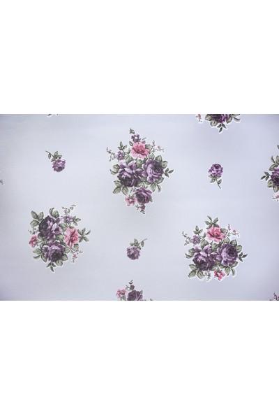 Anıper Çift Mekanizma Mor Gül Çiçek Desen Tül Stor Perde 90x200 cm