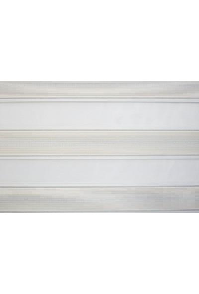 Anıper Zebra Perde Beyaz Gold Simli Pliseli Stor 70X200 cm