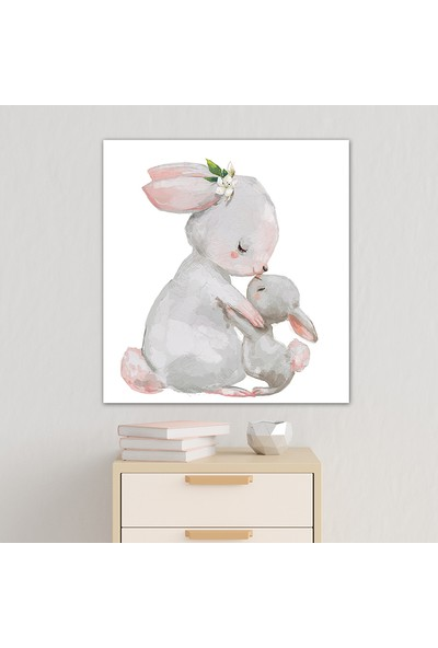 Diji Kanvas Anne ve Bebek Tavşan Çocuk Odası Kanvas Tablo