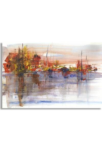 Diji Kanvas Yat Limanı Yağlı Boya Kanvas Tablo