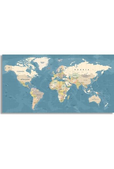Diji Kanvas Dünya Haritası Kanvas Tablo 200x100