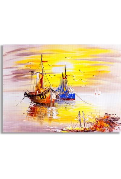 Diji Kanvas Balıkçı Tekneleri Yağlı Boya Kanvas Tablo
