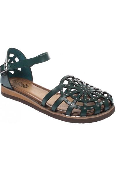 Stella 19555 Tek Bant Yeşil Kadın Sandalet