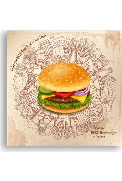 Diji Kanvas Hamburger Dekoratif Kanvas Tablo