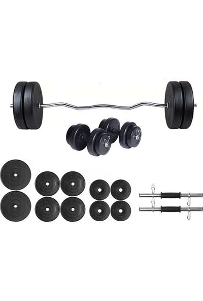 Ecgspor 55kg Z Barlı Dambıl Seti Ağırlık Seti Fitness Seti