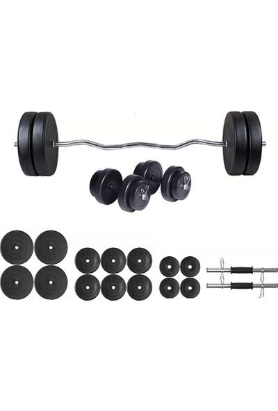 Ecgspor 85kg Z Barlı Dambıl Seti Ağırlık Seti Fitness Seti