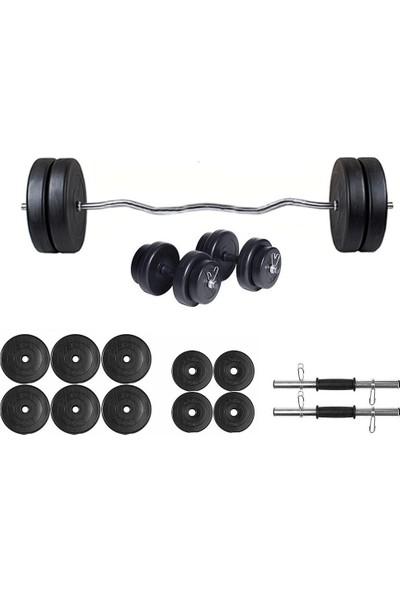 Ecgspor 45 kg Z Barlı Dambıl Seti Ağırlık Seti Fitness Seti