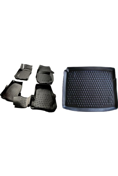 L.locker Ford Focus 3 Sedan 3D Havuzlu Paspas + Kalın Stepne Bagaj Havuzu İkili Set
