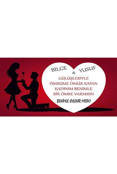 New Jargon Benimle Evlenirmisin Büyük Kalpli Branda Afisi 200 x 100 cm