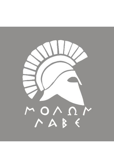 New Jargon Sparta Askeri Yandan Görünümlü Kaskı Sticker Yapıştırma Beyaz