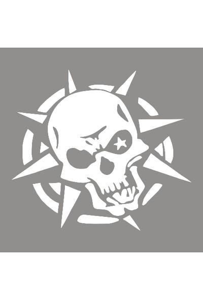 New Jargon Dikenli Yıldız ve Kuru Kafa Sticker Yapıştırma Beyaz