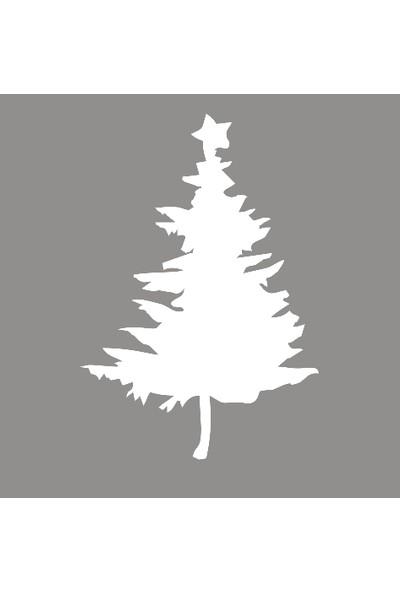 New Jargon Yılbaşı Ağacı Yeni Yıl Süslemesi Çıkartma Beyaz