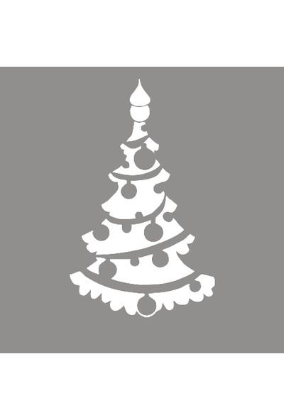 New Jargon Yılbaşı Süslemeleri Çam Ağacı Cam Vitrin Stickeri Beyaz